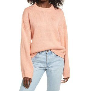Prima Pink Coral Chunky Knit Easy Pullover Sweater